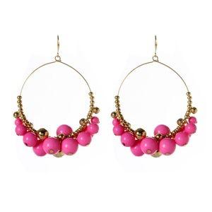 Fuchsia & Goldtone Gypsy Hoop Drop Earrings